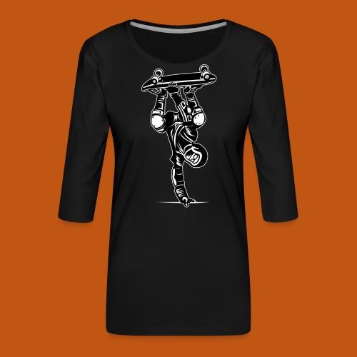 Skater / Skateboarder 02_schwarz weiß - Frauen Premium 3/4-Arm Shirt