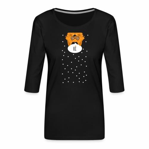 Katze sagt: HI - Frauen Premium 3/4-Arm Shirt
