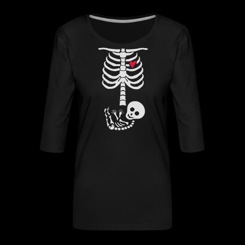 Baby Skelett Schwangerschafts Shirt - Frauen Premium 3/4-Arm Shirt