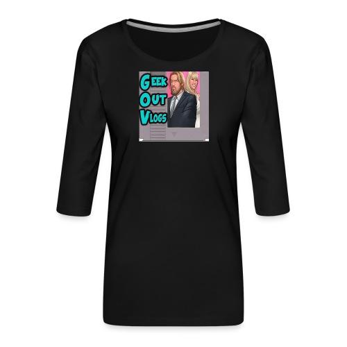 GeekOut Vlogs NES logo - Women's Premium 3/4-Sleeve T-Shirt