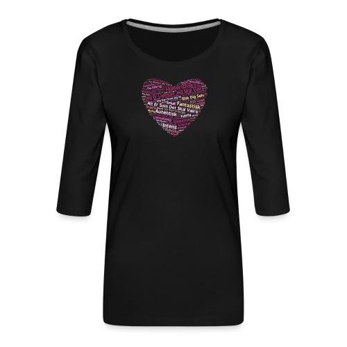Hjerte - Dame Premium shirt med 3/4-ærmer