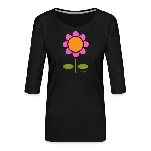 Retro flower - Naisten premium 3/4-hihainen paita