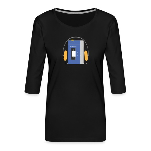 Stereo walkman in blue - Women's Premium 3/4-Sleeve T-Shirt