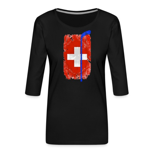 Schweizer Flagge Hockey - Frauen Premium 3/4-Arm Shirt