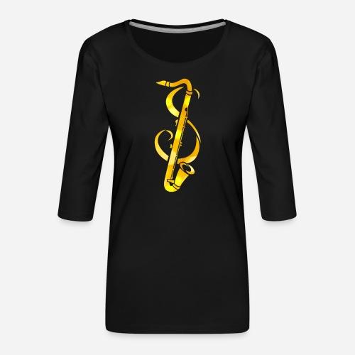 Goldenes Saxophone mit Notenschlüssel - Frauen Premium 3/4-Arm Shirt
