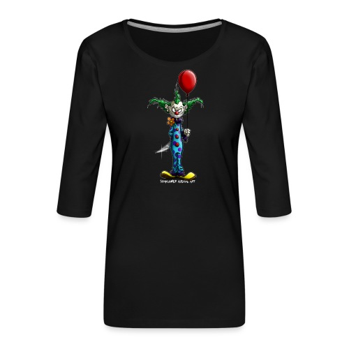 klaun tee - Premium-T-shirt med 3/4-ärm dam