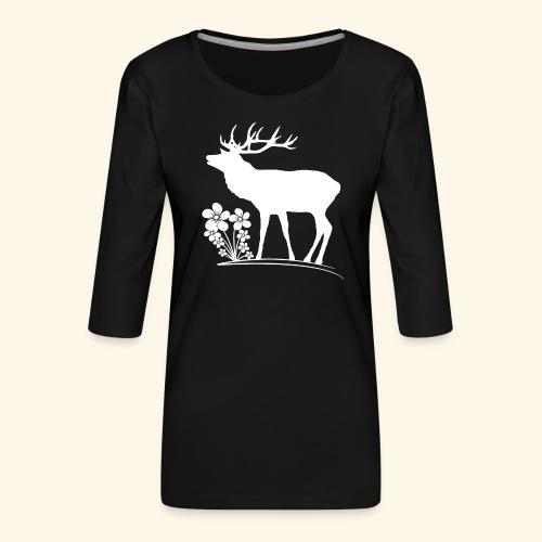 wilder Hirsch mit Blumen, Tiere, Reh, Hirsche - Frauen Premium 3/4-Arm Shirt