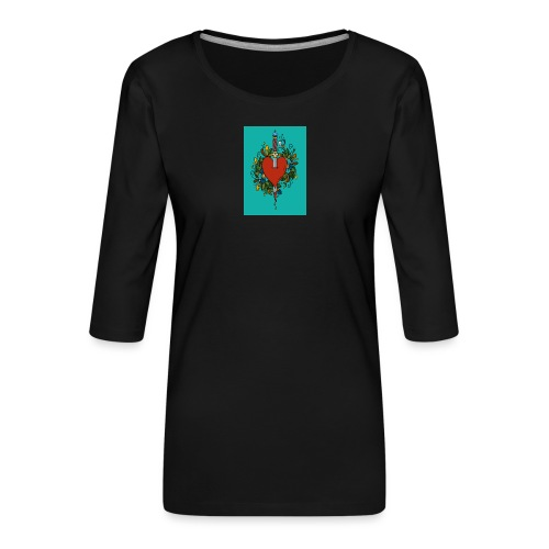 Heart - Maglietta da donna premium con manica a 3/4