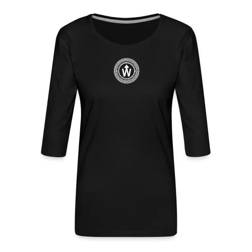 wit logo transparante achtergrond - Vrouwen premium shirt 3/4-mouw