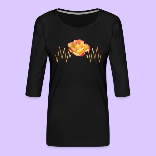 Rose, Herzschlag, Rosen, Blume, Herz, Frequenz - Frauen Premium 3/4-Arm Shirt