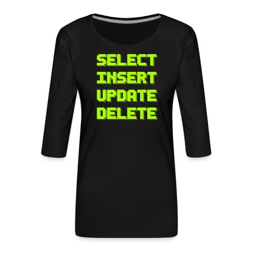 SQL pixelart black - Frauen Premium 3/4-Arm Shirt