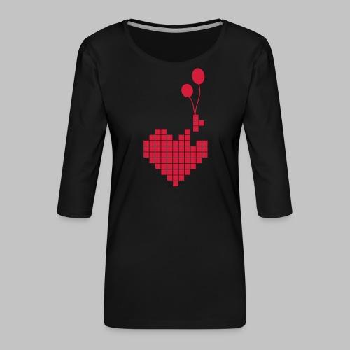heart and balloons - Women's Premium 3/4-Sleeve T-Shirt