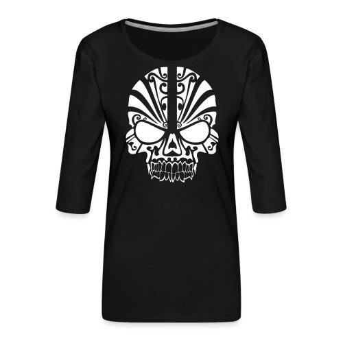 Tribal Skull white mit Logo - Frauen Premium 3/4-Arm Shirt