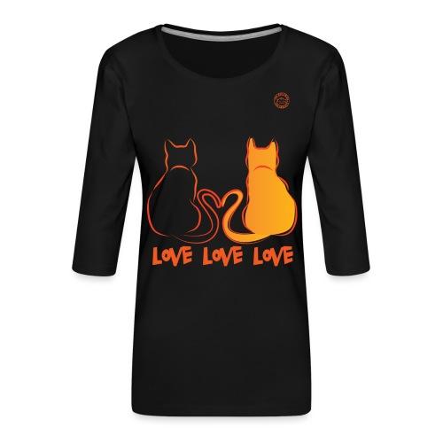 The Red Twins LOVE LOVE LOVE - Maglietta da donna premium con manica a 3/4