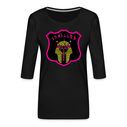Pharaon Noir, Rose, Jaune hyper design - T-shirt Premium manches 3/4 Femme