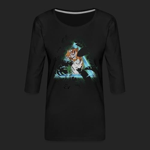 Tigre en soirée - T-shirt Premium manches 3/4 Femme