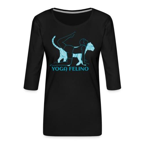 t shirt design YOGA FELINO - Maglietta da donna premium con manica a 3/4