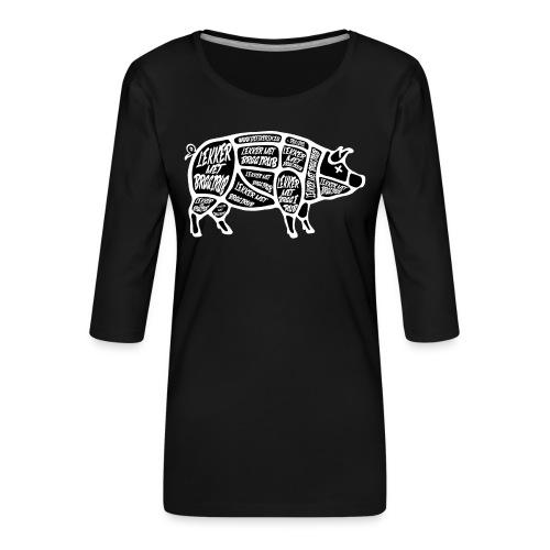 Braairub piggy - Vrouwen premium shirt 3/4-mouw