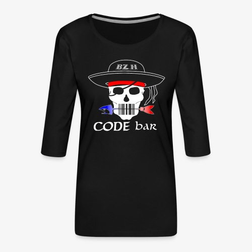 Code Bar white - T-shirt Premium manches 3/4 Femme