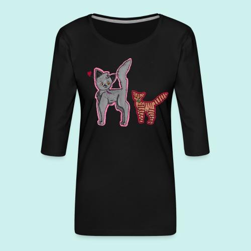 cat and kitten - Naisten premium 3/4-hihainen paita