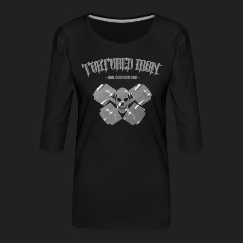 checekerd skull.png - Women's Premium 3/4-Sleeve T-Shirt