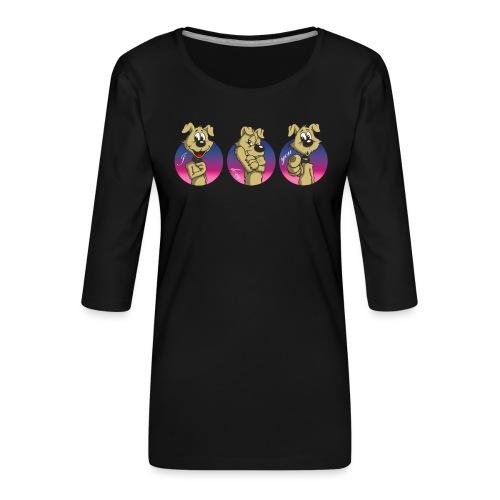 """Comic Hund in Gebärdensprache """"I love you"""" - Frauen Premium 3/4-Arm Shirt"""