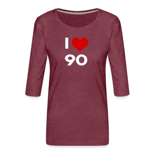 I love 90 - Maglietta da donna premium con manica a 3/4