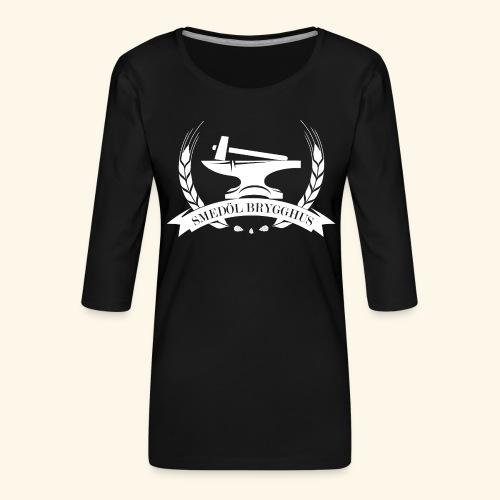 Smedöl Brygghus Logga Vit - Premium-T-shirt med 3/4-ärm dam