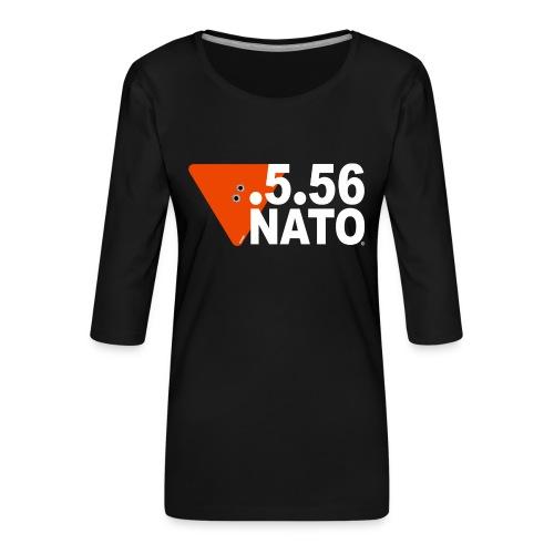 .5.56 NATO BLANC - T-shirt Premium manches 3/4 Femme