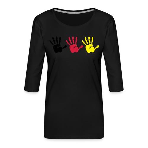 Handabdruck Trio - Frauen Premium 3/4-Arm Shirt