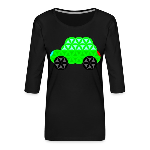 The Car Of Life - M01, Sacred Shapes, Green/R01. - Women's Premium 3/4-Sleeve T-Shirt