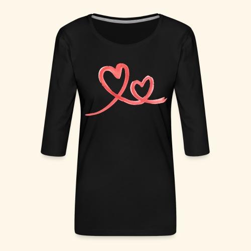 Duo Cœur Main levée - Saint Valentin - T-shirt Premium manches 3/4 Femme