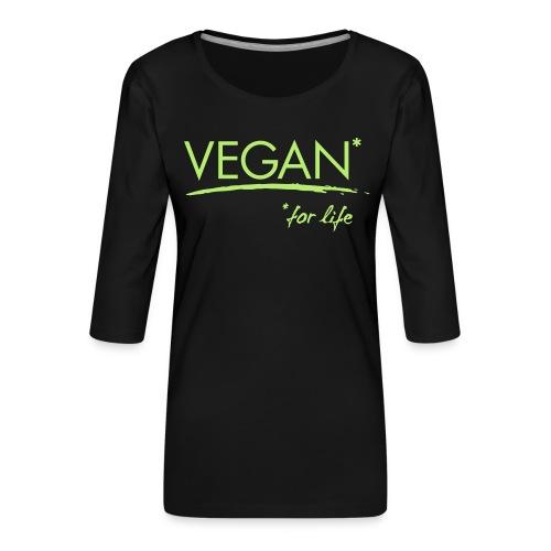 vegan for life 1c - Frauen Premium 3/4-Arm Shirt