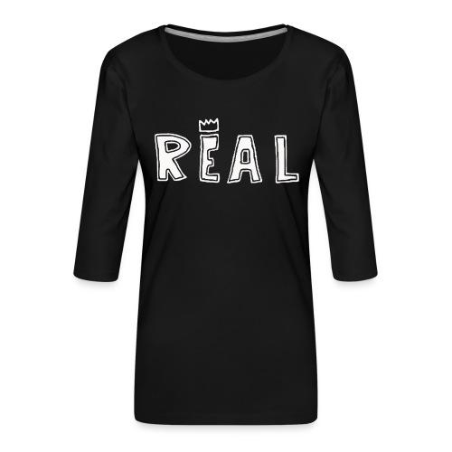 REAL (White) - Vrouwen premium shirt 3/4-mouw