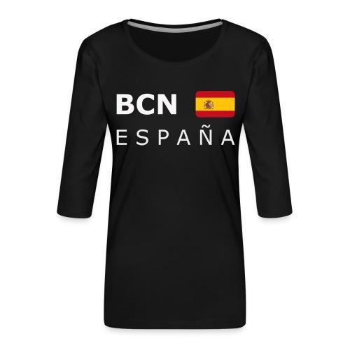BCN ESPAÑA white-lettered 400 dpi - Women's Premium 3/4-Sleeve T-Shirt