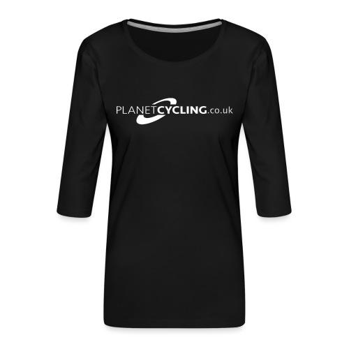 Planet Cycling Web Logo - Women's Premium 3/4-Sleeve T-Shirt