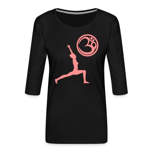 Der Held Yoga Asana Warrior mit OM Symbol Cool - Frauen Premium 3/4-Arm Shirt