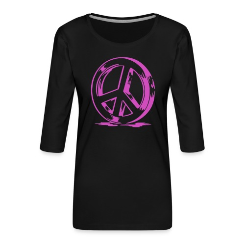 Peace and Love - T-shirt Premium manches 3/4 Femme