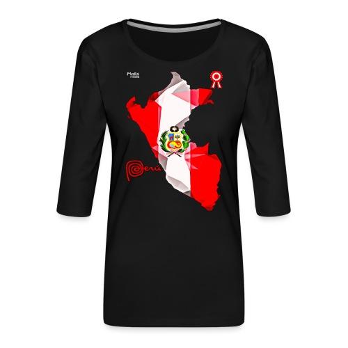 Mapa del Peru, Bandera y Escarapela - T-shirt Premium manches 3/4 Femme