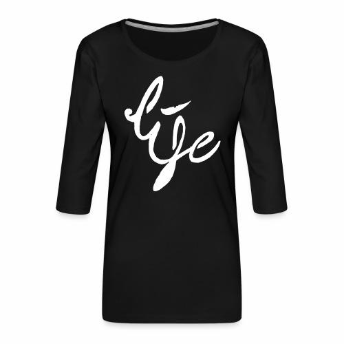 Life Logo simple white - T-shirt Premium manches 3/4 Femme