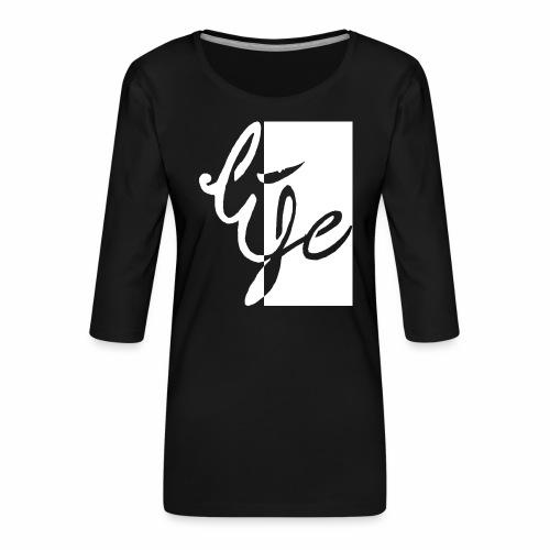 Life Logo 02 white - T-shirt Premium manches 3/4 Femme