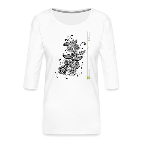 diseño de flores - Camiseta premium de manga 3/4 para mujer
