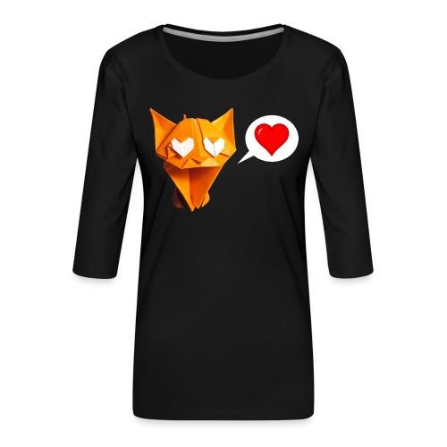 Adorable Cat Origami - Cat - Gato - Gatto - Katze - Women's Premium 3/4-Sleeve T-Shirt