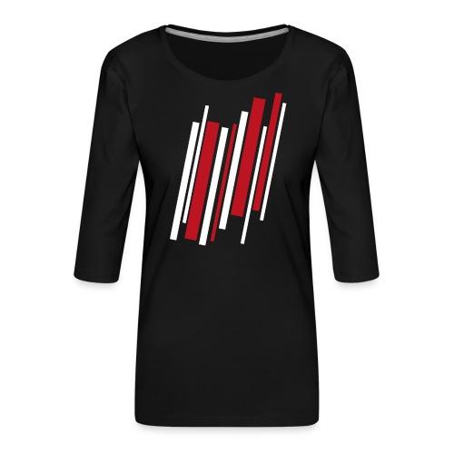 Red-White-Lines - Frauen Premium 3/4-Arm Shirt