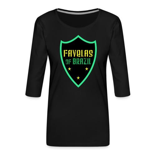 FAVELAS OF BRAZIL NOIR VERT DESIGN - T-shirt Premium manches 3/4 Femme