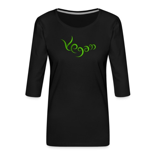 Vegaani käsinkirjoitettu design - Naisten premium 3/4-hihainen paita