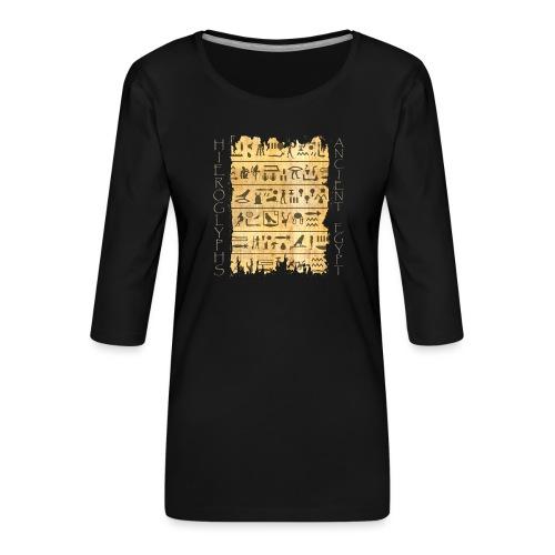 Ausgerissener Papyri mit Hieroglyphen - Frauen Premium 3/4-Arm Shirt