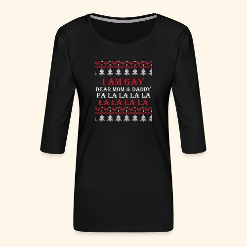 Gay Christmas sweater - Koszulka damska Premium z rękawem 3/4