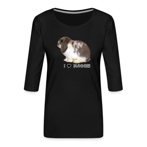 I Love Bunnies Luppis - Naisten premium 3/4-hihainen paita