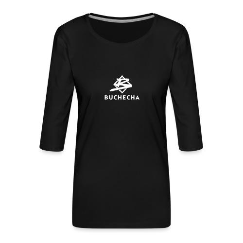 Logo White Basic - Camiseta premium de manga 3/4 para mujer